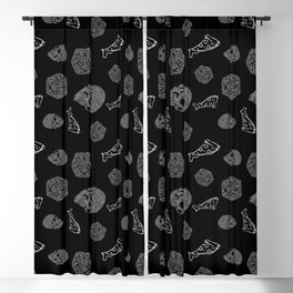 Game Night - repeating pattern nerdy d20 skull pizza Blackout Curtain