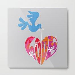 Retro Bird and Love Heart Metal Print