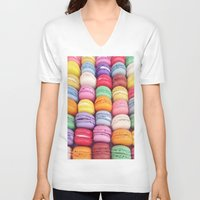 macarons V-neck T-shirts featuring Macarons by Sankakkei SS