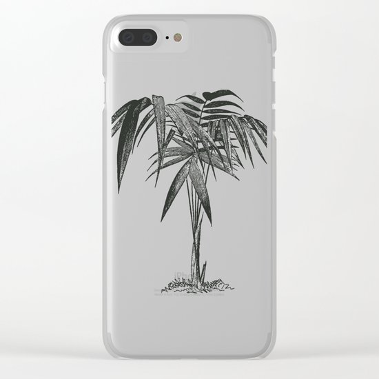 Black and White Vintage Palm Leaf Pattern Clear iPhone Case