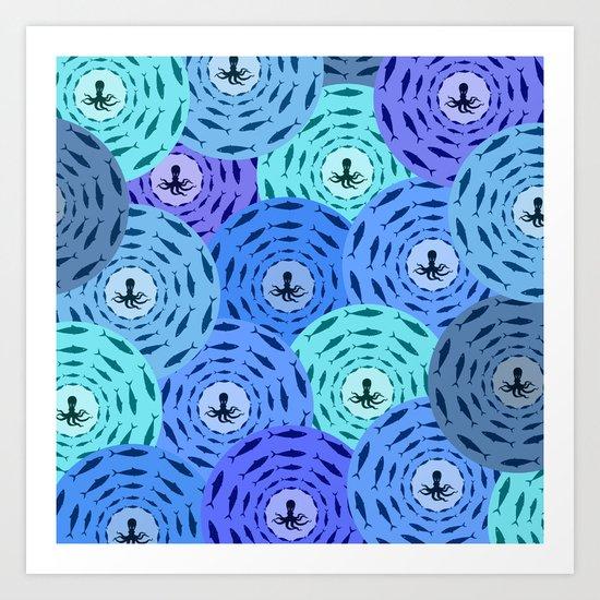 Octopus pattern Art Print