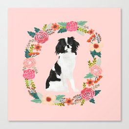 japanese chin floral wreath dog breed pet portrait pure breed dog lovers Canvas Print