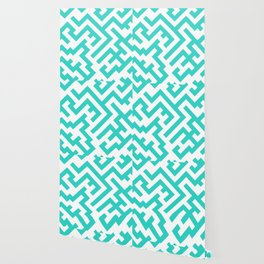 White and Turquoise Diagonal Labyrinth Wallpaper