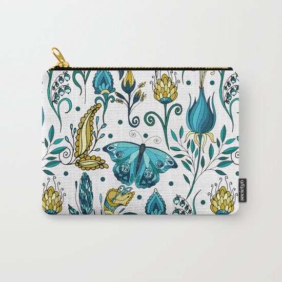 Floral pattern with butterfly Carry-All Pouch