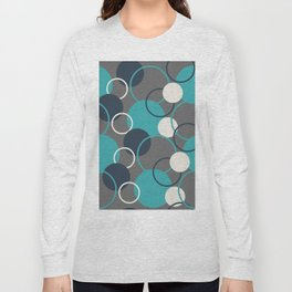 Teal Turquoise Aqua Dark Navy Blue and Alabaster White Solid Color Circles and Rings Pattern - Aquarium SW 6767 Long Sleeve T-shirt