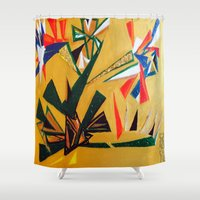 oakland Shower Curtains featuring Oakland Wall Flower by Oakland.Style