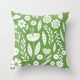 Blooming Field - green Throw Pillow