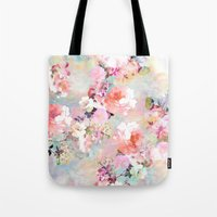 pink Tote Bags featuring Love of a Flower by Girly Trend