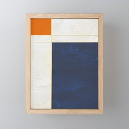 Orange, Blue And White With Golden Lines Abstract Painting Framed Mini Art Print