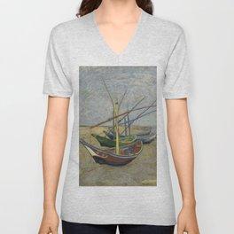 """Vincent Van Gogh """"Fishing boats on the Beach at Les Saintes-Maries-de-la-Mer"""" Unisex V-Neck"""