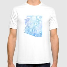 Typographic Arizona - Blue Watercolor Mens Fitted Tee MEDIUM White