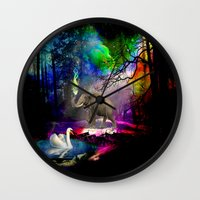 decal Wall Clocks featuring Fantasy forest by haroulita