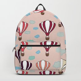 Pink Hot Air Balloon Blue Clouds Pattern Design  Backpack