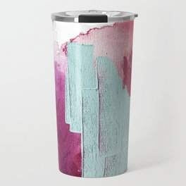 Desert Daydreams [3]: a colorful abstract mixed media piece in purple blue pinks and orange Travel Mug