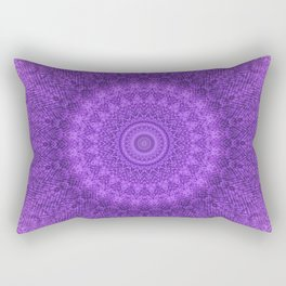 Sunflower Plum Boho Feather Pattern \\ Aesthetic Vintage Bohemian \\ Dark Violet Purple Color Scheme Rectangular Pillow