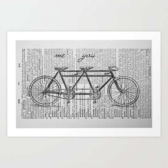 Me & You Tandem Bike Art Print