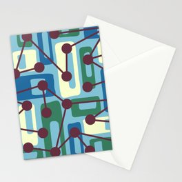 Mid Century Modern Atomic Nucleus Pattern 429 Stationery Cards