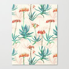 Flowering Succulent Pattern in Cream, Coral and Green Canvas Print