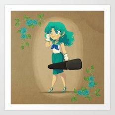 Retro Sailor Neptune Art Print