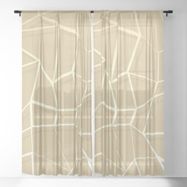 Floating Shapes Gold - Mid-Century Minimalist Graphic Sheer Curtain