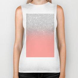 Modern chic coral pink silver glitter ombre gradient Biker Tank