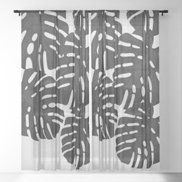 Monstera Black & White I Sheer Curtain