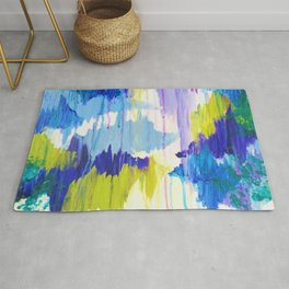 WINTER DREAMING - Jewel Tone Colorful Eggplant Plum Periwinkle Purple Chevron Ikat Abstract Painting Rug