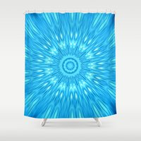 turquoise Shower Curtains featuring turquoisE Mandala Expolosion by 2sweet4words Designs