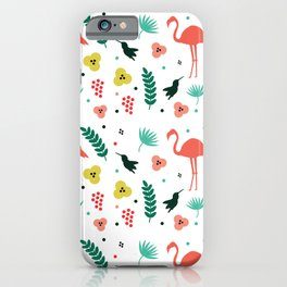 Cute tropical pattern with pink flamingos iPhone Case