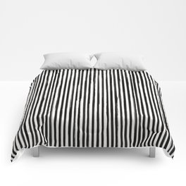 Skinny Stroke Vertical Black on Off White Comforters
