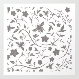 Birds & Blooms Patterns Art Print