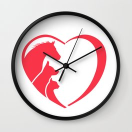 Heart Horse, dog and Cat Wall Clock