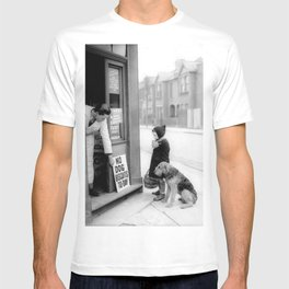 Vintage 'No Dog Biscuits Today' Humorous Little Girl, Dog, and Italian Market black and white photography / photograph T-shirt