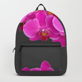 CHARCOAL GREY PURPLE PINK ORCHIDS Backpack