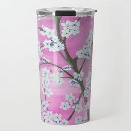 Elegant white pink floral painting pattern Travel Mug