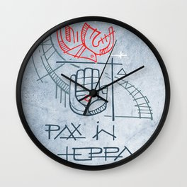 Religious christian symbols and phrase Wall Clock