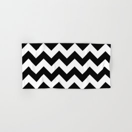 BLACK AND WHITE CHEVRON PATTERN - THICK LINED ZIG ZAG Hand & Bath Towel