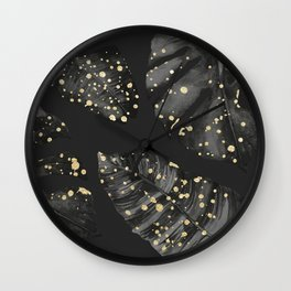 Classic Tropical Palm Leaves Black and Gold Wall Clock