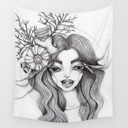 JennyMannoArt Graphite Drawing/Serena the mermaid Wall Tapestry