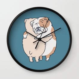 English Bulldog Hugs Wall Clock