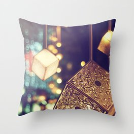 Decorated Christmas tree on blurred background Throw Pillow