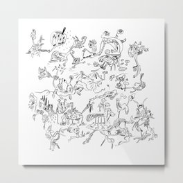 Black jook doodles Metal Print