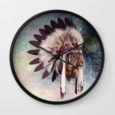 Tiger in war bonnet Wall Clock