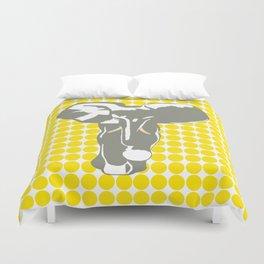 Golden Yellow Safari Dot with Pop Art Elephant Duvet Cover
