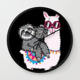 Sloth Llama Music Wall Clock