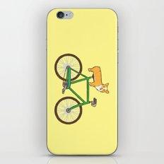 Corgi on a bike iPhone & iPod Skin
