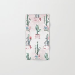 Desert Potted Cactus and Succulents Rose Gold Pink Hand & Bath Towel