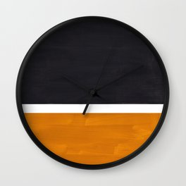Black Yellow Ochre Rothko Minimalist Mid Century Abstract Color Field Squares Wall Clock