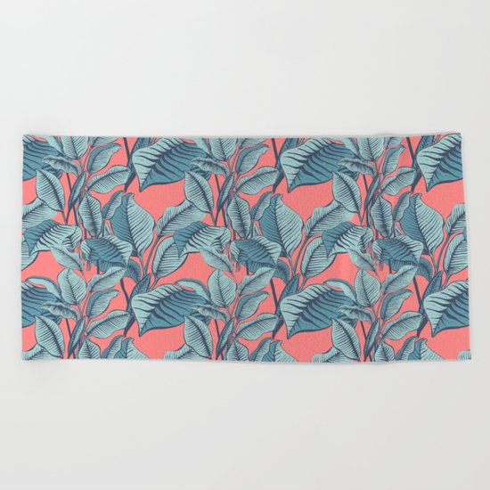 Pink Exotic Tropical Banana Palm Leaf Print Beach Towel