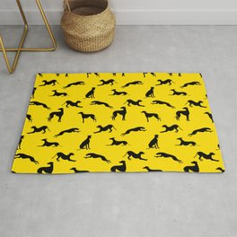 Greyhound Silhouettes Black on Yellow Rug